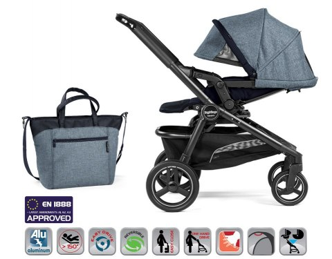 TEAM POP-UP COMPLETO MODULAR Peg Perego (stelaż + siedzisko spacerowe + gondola Navetta Pop Up + fotelik SL + torba + adapter)